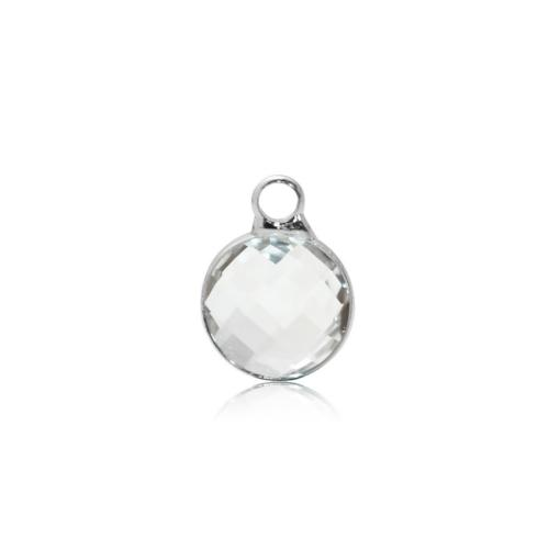 Charms, Bezel, Round, April Birthstone, Silver Tone, Alloy, Clear, Faceted, Crystal, Glass, 8.6mm - BEADED CREATIONS