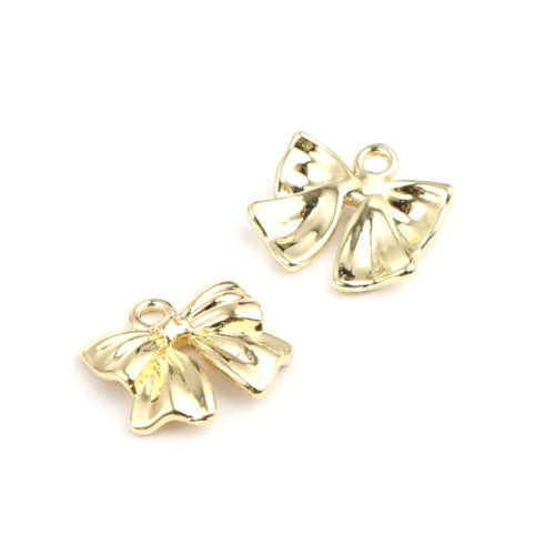 Charms, Bow, Gold Plated, Alloy, Single Sided, Focal, 17mm. Sold Individually - BEADED CREATIONS