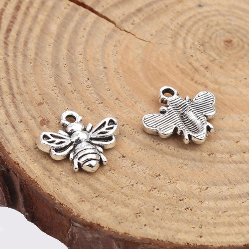 Charms, Bumblebee, Antique Silver, Alloy, 13mm - BEADED CREATIONS