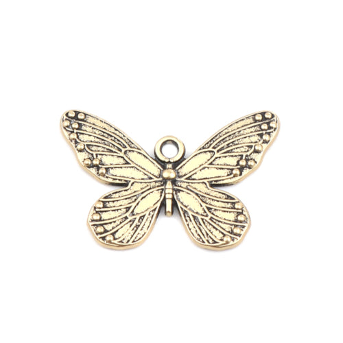 Charms, Butterfly, Antique Gold-Finished, Pewter, 30x19mm, Single Sided. Sold Individually - BEADED CREATIONS