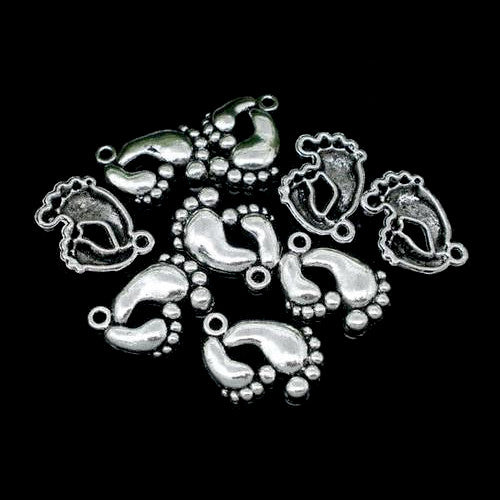 Charms, Feet, Antique Silver, Alloy, 20mm - BEADED CREATIONS