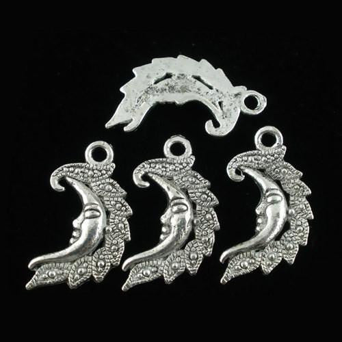 Charms, Half Moon, Face, Ornate, Antique Silver, Alloy, 27mm. Sold Individually - BEADED CREATIONS