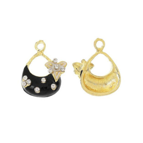 Charms, Handbag, Purse, Gold Plated, Alloy, Rhinestones, Black, White, Enamel, 22mm. Sold Individually - BEADED CREATIONS