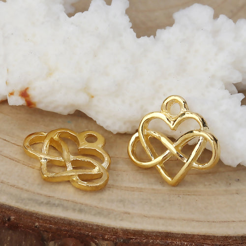 Charms, Heart, Infinity, Symbol, Gold Plated, Alloy, 15mm. Sold Individually - BEADED CREATIONS