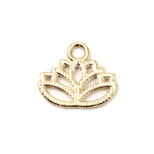 Charms, Lotus Flower, 16K Gold Plated, Alloy, 17mm - BEADED CREATIONS