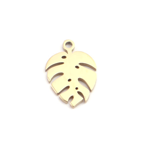 Charms, Monstera, Leaf, 18K Gold Filled, 304 Stainless Steel, 13x9mm. Sold Individually - BEADED CREATIONS