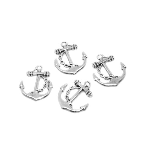Charms, Nautical, Anchor, Double-Sided, Antique Silver, Alloy, 27mm. Sold Individually - BEADED CREATIONS