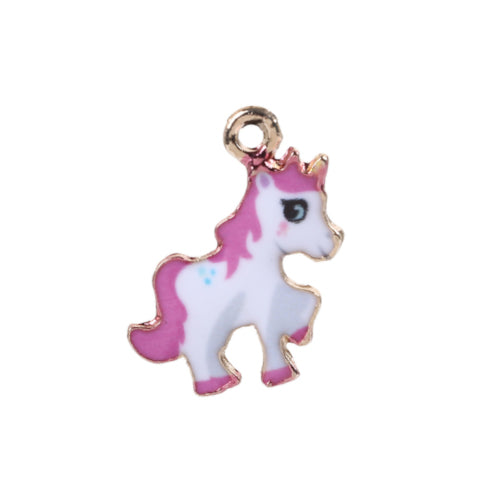 Charms, Pony, Single-Sided, Gold Plated, White, Fuchsia, Enamel, 24mm. Sold Individually - BEADED CREATIONS