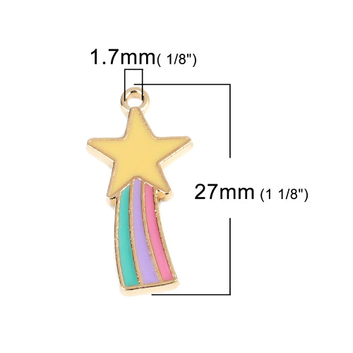 Charms, Rainbow, Star, Enamel, Gold Plated, Single Sided, Multicolored, 27mm. Sold Individually - BEADED CREATIONS