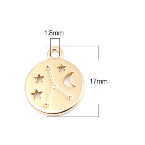 Charms, Round, Cancer, Zodiac Sign, Constellation, Gold Plated, Alloy, 17mm - BEADED CREATIONS