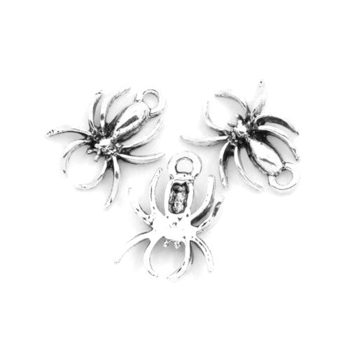 Charms, Spider, Halloween, Antique Silver, Alloy, 18mm. Sold Individually - BEADED CREATIONS