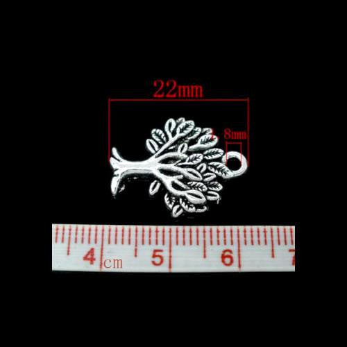 Charms, Tree Of Life, Silver Tone, Alloy, 21mm. Sold Individually