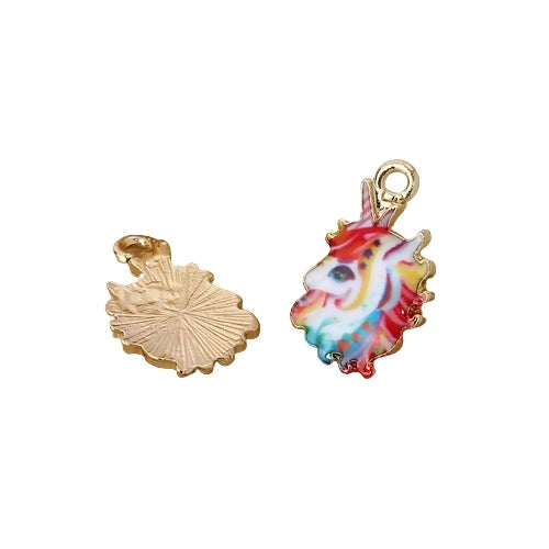 Charms, Unicorn, Gold Plated, Alloy, Multicolored, Enamel, Single-Sided, 17mm. Sold Individually - BEADED CREATIONS