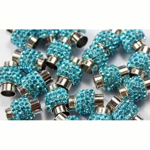 Clasps, Cord End, Glue-In, Cylinder, Magnetic, Hematite, Blue, Rhinestone Pave, Silver Plated, 8mm. Sold Per Set - BEADED CREATIONS