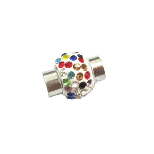 Clasps, Cord End, Glue-In, Cylinder, Magnetic, Hematite, Multicolored, Rhinestone Pave, Silver Plated, 8mm. Sold Per Set - BEADED CREATIONS