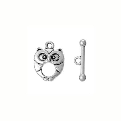 Clasps, Toggle, Owl, Oval, Single-Strand, Antique Silver, Alloy, 20x15mm - BEADED CREATIONS