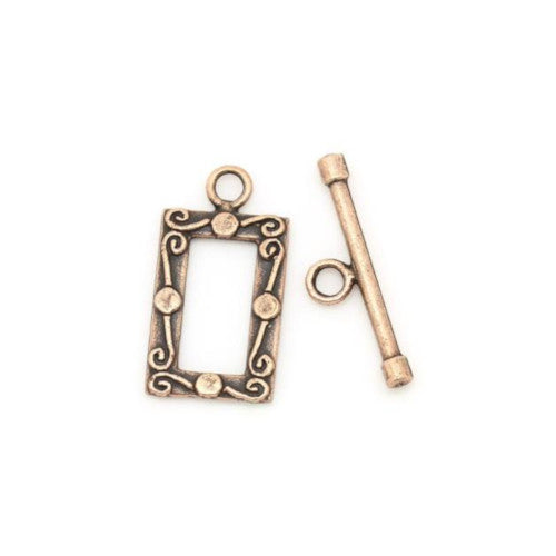 Clasps, Toggle, Rectangle, Fancy, Antique Copper, Alloy, 23x12mm - BEADED CREATIONS