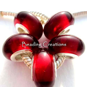 Clear Red European Charm Glass Beads - BEADED CREATIONS