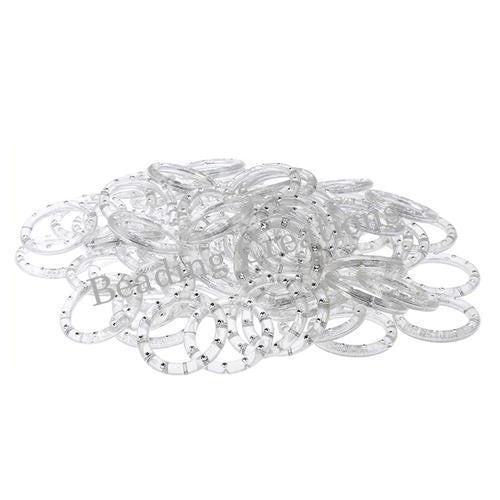 Connectors, Acrylic, Clear, Transparent, Linking Rings With Rhinestones, 45mm. Sold Per Pkg Of 2 - BEADED CREATIONS