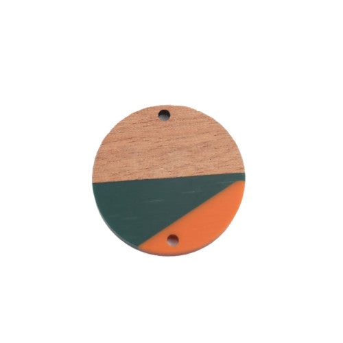 Connectors, Coin, Wood, Orange And Dark Green, Resin, Focal Link, 28mm. Sold Individually - BEADED CREATIONS