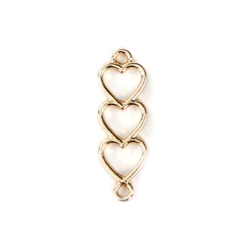 Connectors, Hearts, Tiered, Single-Sided, Open Design, Gold Plated, Alloy, 24mm. Sold Individually - BEADED CREATIONS