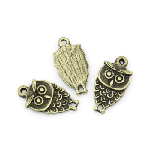 Connectors, Owl, Bronze, Brass, Alloy, Focal, Link, 18mm. Sold Individually - BEADED CREATIONS
