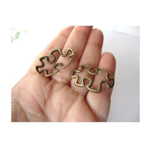 Connectors, Symbol, Autism Awareness, Puzzle Piece, Antique Bronze, Alloy, Focal, Link, 42mm. Sold Individually - BEADED CREATIONS
