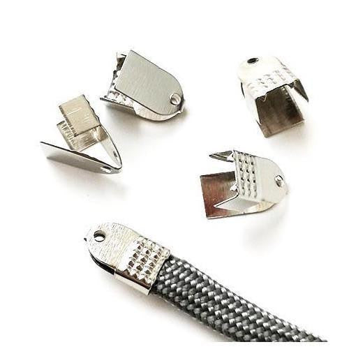 Cord Ends, Fold Over, Silver-Plated, Alloy, Textured, 5mm. Sold Per Pkg Of 5