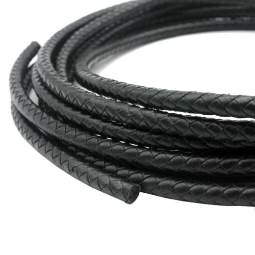 Cord, Bolo, Faux Leather, Braided, Round, Black, 6mm. Sold Per Meter