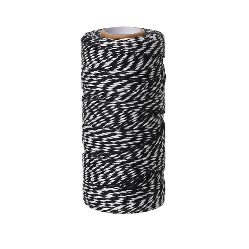 Cord, Cotton, Striped, Black And White, 1.5mm. Sold Per Meter - BEADED CREATIONS