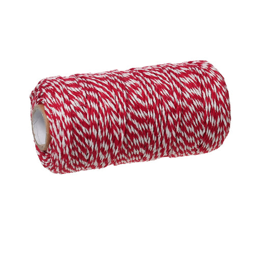 Cord, Cotton, Striped, Red And White, 1.5mm, Sold Per 90 Meter Roll - BEADED CREATIONS
