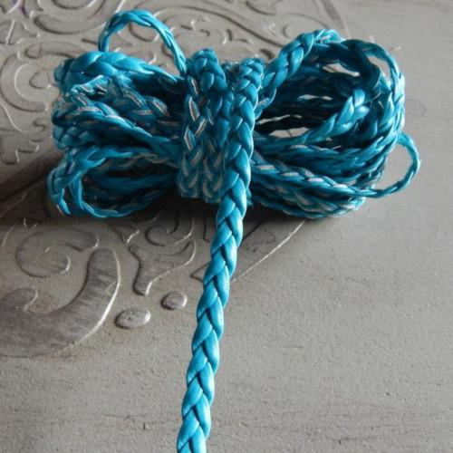 Cord, Faux Leather, Braided, Flat, Blue, 5mm. Sold Per Meter