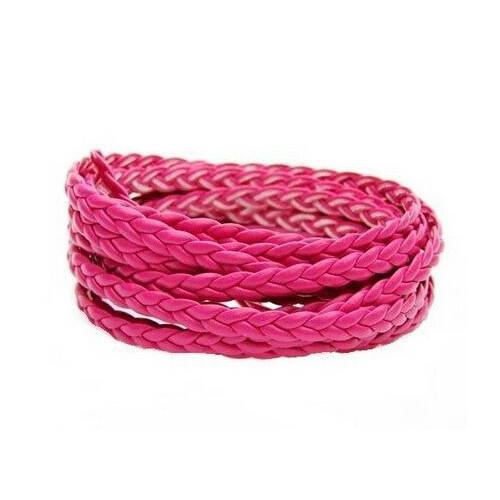 Cord, Faux Leather, Braided, Flat, Fuchsia, 5mm. Sold Per Meter