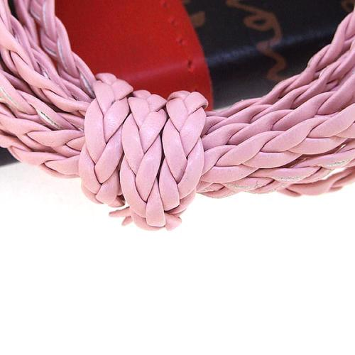 Cord, Faux Leather, Braided, Flat, Pink, 5mm. Sold Per Meter