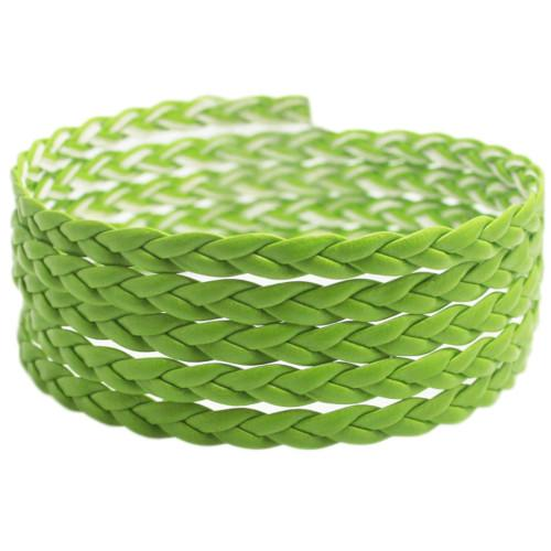 Cord, Faux Leather, Braided, Flat, Spring Green, 5mm. Sold Per Meter
