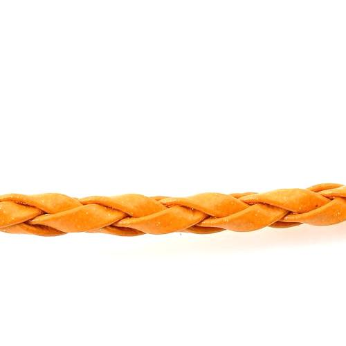 Cord, Round, Braided, Faux Leather, Orange, 3mm. Sold Per Meter