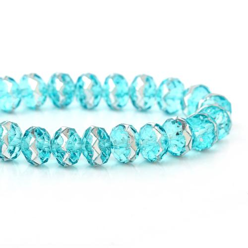 Crystal Glass Beads, Faceted, Rondelle, Transparent, Sky Blue, Silver Metallic, 8mm. Sold Individually - BEADED CREATIONS
