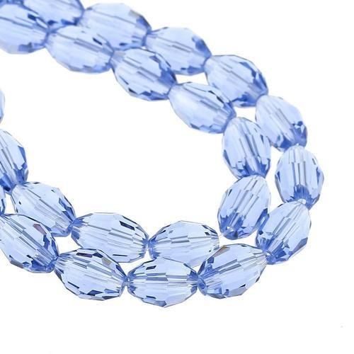 Crystal Glass Beads, Oval, Faceted, Light Blue, 8mm. Sold Individually - BEADED CREATIONS