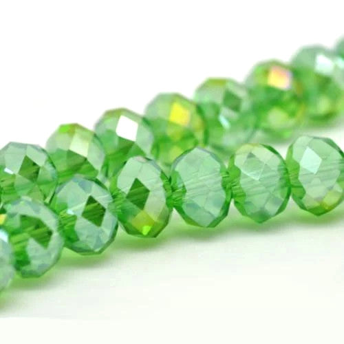 Crystal Glass Beads, Rondelle, Faceted, AB Green, 8mm. Sold Individually - BEADED CREATIONS