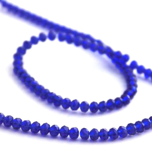 Crystal Glass Beads, Rondelle, Faceted, Cobalt Blue, 4mm. Sold Individually - BEADED CREATIONS