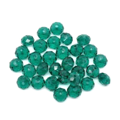 Crystal Glass Beads, Rondelle, Faceted, Malachite Green, 8mm. Sold Individually - BEADED CREATIONS