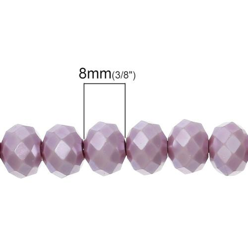 Crystal Glass Beads, Rondelle, Faceted, Opaque, Lilac, 8mm, Sold Individually