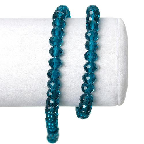 Crystal Glass Beads, Rondelle, Faceted, Peacock Blue, 8mm. Sold Individually - BEADED CREATIONS
