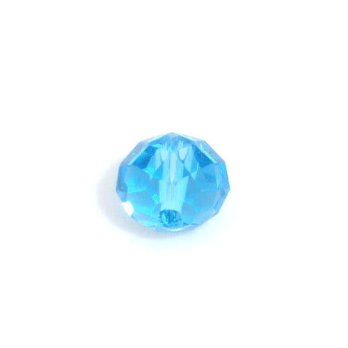 Crystal Glass Beads, Rondelle, Faceted, Sky Blue, 6mm, Sold Individually
