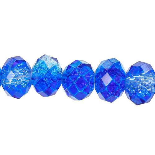 Crystal Glass Beads, Rondelle, Faceted, Two Tone, Blue, 8mm. Sold Individually - BEADED CREATIONS