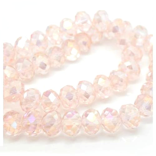 Crystal Glass Beads, Rondelle, Faceted, Vintage Rose, AB, 8mm. Sold Individually - BEADED CREATIONS