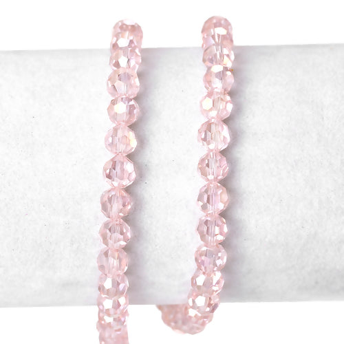Crystal Glass Beads, Round, Faceted, Pink, AB, 6mm. Sold Individually - BEADED CREATIONS