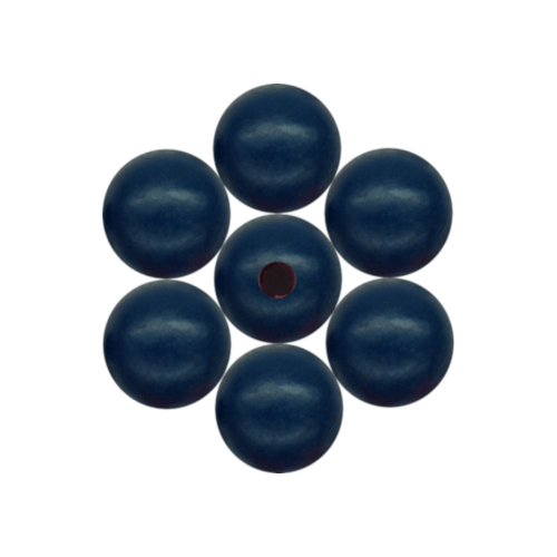 Beads, Wood, Round, Dark Blue, 14mm. Sold Individually - BEADED CREATIONS