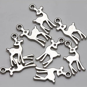 Double Sided Silver Tone Bambi Deer Charms 10mm - BEADED CREATIONS