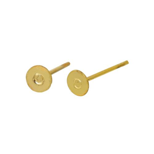Earring Findings, Ear Studs, Round, Flat Pad, 21 Gauge, Gold Plated, Copper, 12x4mm. Sold Per Pair - BEADED CREATIONS